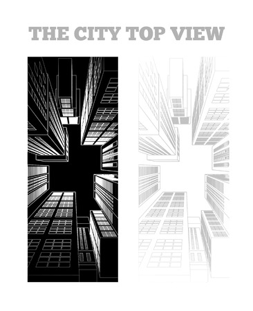 Illustration of a city in bw style. Top view