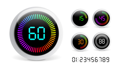 countdown timer: Vector Digital Countdown Timer isolated on white background