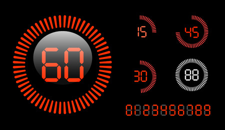 Vector Digital Countdown Timer isolated on black background  Vector