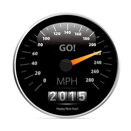 2015 year Calendar speedometer car. Vector illustration Vector