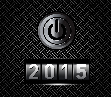 new year counter: New Year counter 2015 with power button. Vector illustration Illustration