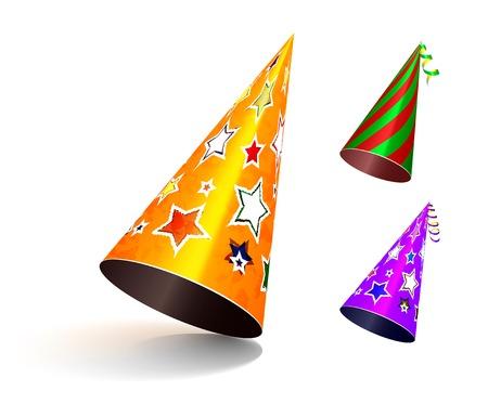 birthday hat: Party hat. Vector set illustration on white background