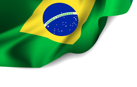 Waving flag of Brazil, South America Illustration