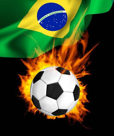 scorching: Hot soccer ball in fires flame, national flag of Brasil
