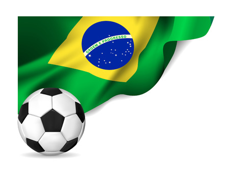 Soccer ball with brasil flag   Vector