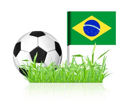 brasil: Soccer ball with brasil flag on white background