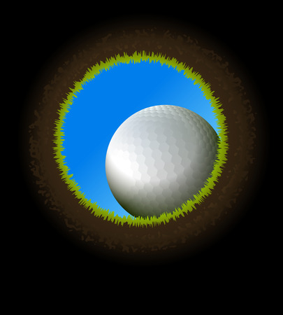 hole in one: golf ball near hole. Inside view from below. Illustration