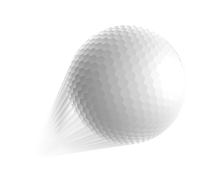 golf ball on tee: Golf ball is flying in the air.