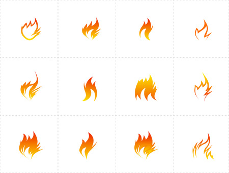 Fire icon set on white background. Vector illustration Vector