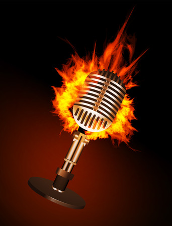 Microphone in Fire Isolated on Black Background.  Vector