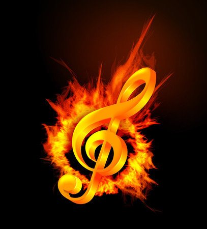 Fire violin key sign. Vector illsutration on black background