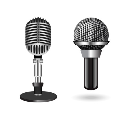Vintage silver microphones isolated on white background. Vector illustration Vector