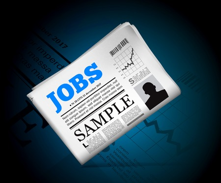 job interview: Jobs in newspaper with perforated edges and texture. Vector illustration