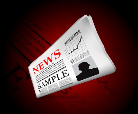 News in newspaper with perforated edges and texture. Vector illustration Vector
