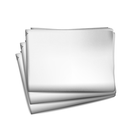 Blank newspaper with perforated edges and texture on white background.  illustration
