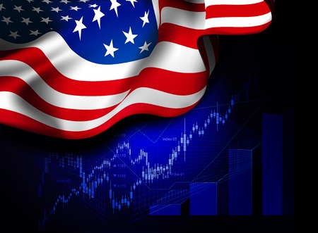 exchange profit: Market Financial Data with flag of USA, as an indicator of changes in the economy. Vector illustration