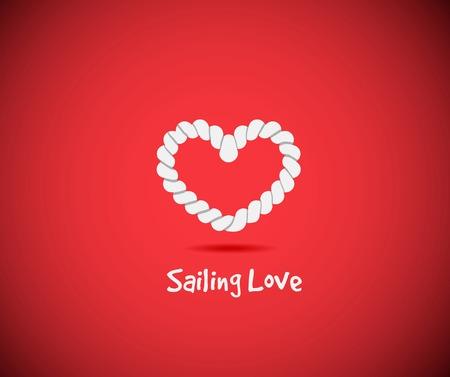 string together: Heart shape rope knots set on red background Illustration
