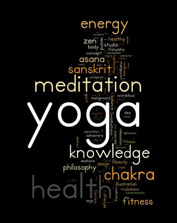 health collage: YOGA. Word cloud concept vector illustration on black Illustration