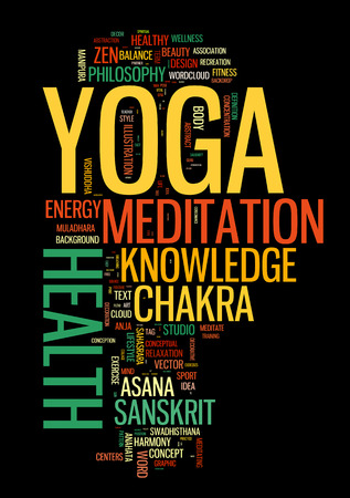 YOGA. Word cloud concept vector illustration on black Vector