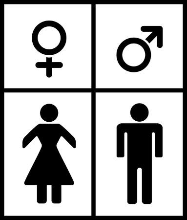 Male and Female illustartion on white background