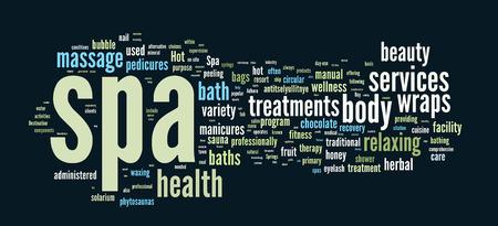Spa word cloud vector illustration on dark blue background Illustration