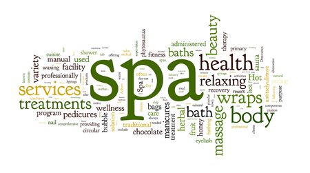 spa collage: Spa word cloud vector illustration on white