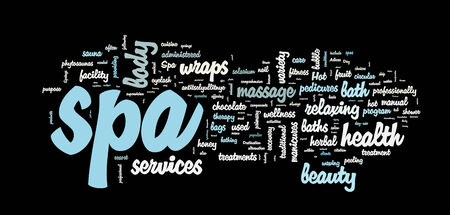 Spa word cloud vector illustration on black Vector