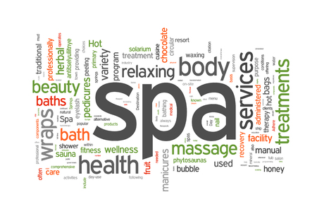 steam bath: Spa word cloud vector illustration on white