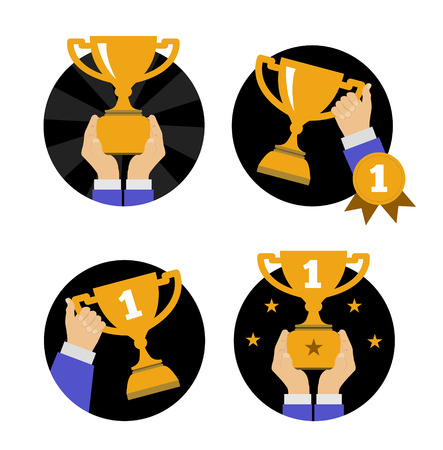 Hand holding golden trophy. Vector illustration in flat style Vector