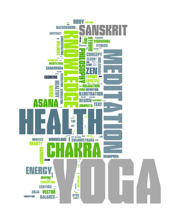 salubrity: YOGA. Word collage on white background. Vector illustration.