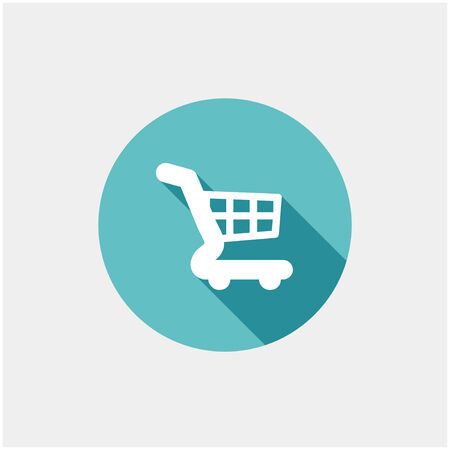 Cart Icon in flat style on grey background Vector