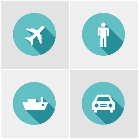 symbols metaphors: Flat design icon set. Transportation theme
