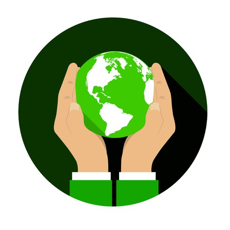 responsible: Hands gently holding a globe. Vector illustration in flat style