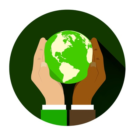 racial: mix of two different races holding hands globe. The concept of friendship among peoples and racial equality