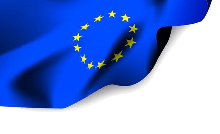European Union waving flag isolated against white background Vector