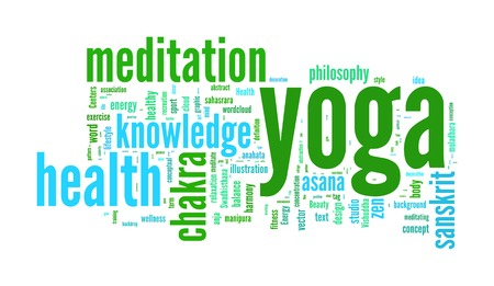 salubrity: YOGA. Word collage on white background.