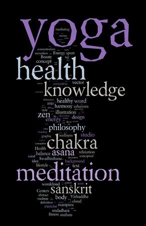 breathe easy: YOGA. Word cloud concept