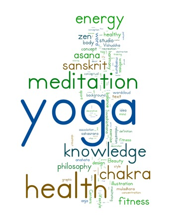 YOGA. Word collage on white background.  photo