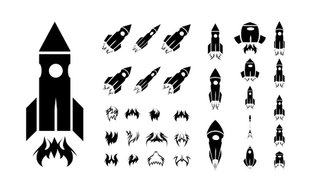 Rocket icon set.  Vector