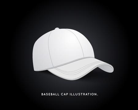 White Baseball Hat Isolated on Dark Background.