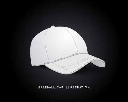 White Baseball Hat Isolated on Dark Background.  Vector