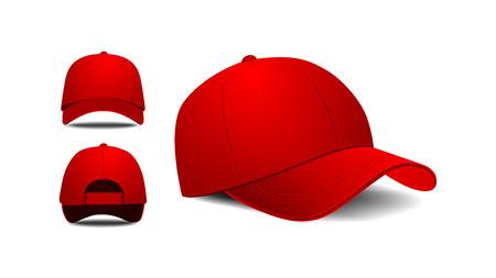 sported: Baseball cap. Front, left, back view.  Illustration