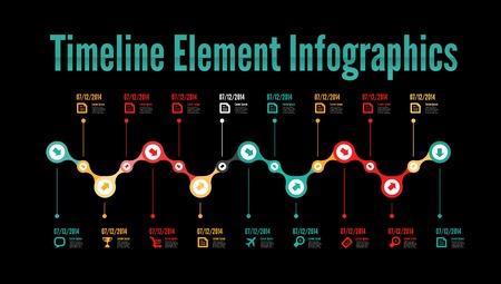 Timeline element infographic on white background Illustration