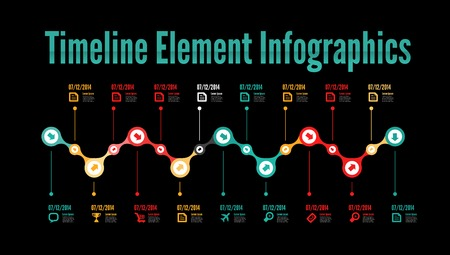 time line: Timeline element infographic on white background Illustration