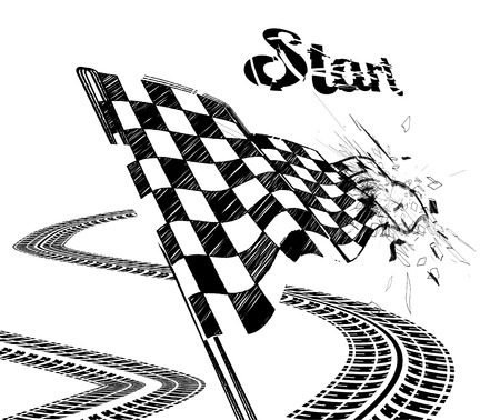racing flag: Drawing checkered flag in the dynamic style   Illustration