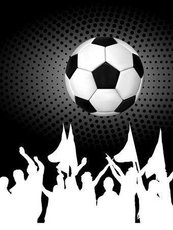 soccer fans: Soccer ball  football  with silhouettes of fans