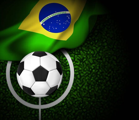 Football field with ball and flag of Brazil  Vector