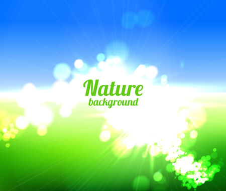 Nature background  with sun and green field photo