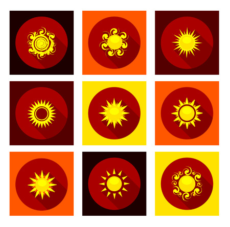Sun icons set in flat style with long shadow. Vector illustration Vector