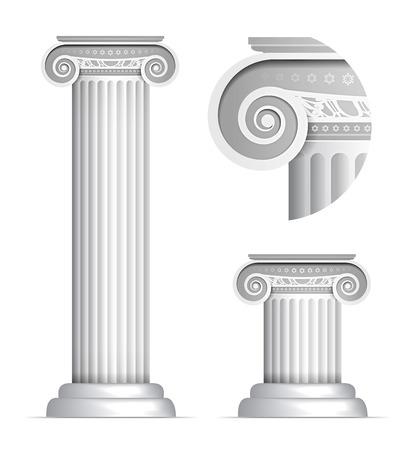 derecho romano: Ilustración del vector de columna jónica griega o romana clásica en el fondo blanco